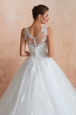 Floor Length Bateau Sleeveless Buttons Lace Tulle Puffy Wedding Dresses_9