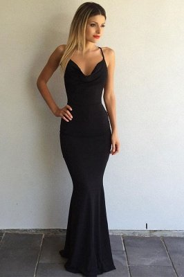 Simple Black Prom Dresses Crisscross Back Sexy Mermaid Evening Gowns BA4507_2