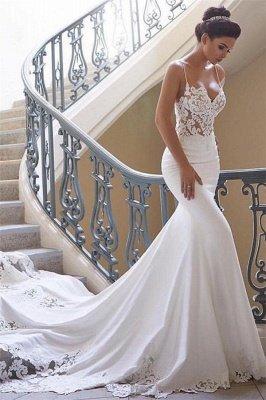 Sexy Spaghetti Strap Wedding Dress | Mermaid Chiffon Lace Bridal Dress_3