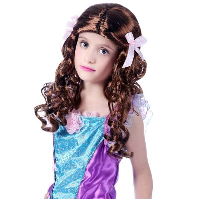 Copper Red Long Wavy Curly Synthetic Wigs for Girl_1