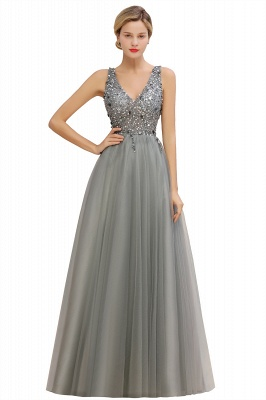 Sleeveless A-line Sequin Tulle Prom Dresses | Cheap Evening Dress_4