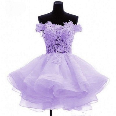 Short Flowers Off-the-Shoulder Ruffles Cute Homecoming Dress_2