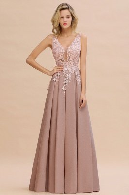 Elegant Sleeveless V-neck Floor Length Appliques Prom Dresses | Cheap Backless Evening Dresses_20