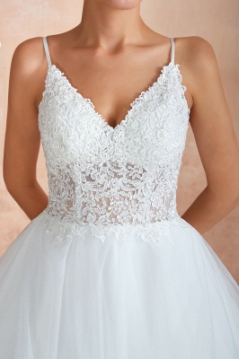 Spaghetti Straps V-neck Lace Organza Tiered A-line Sexy Wedding Dresses_11