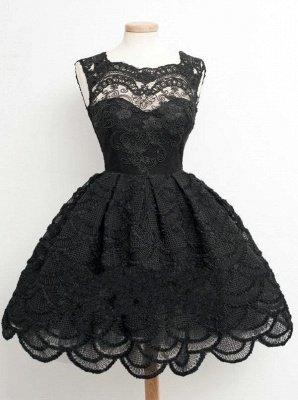 Lace Black Knee-Length Short Homecoming Dress   Stunning Short Prom Dresses_2