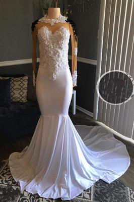 Black Mermaid Sheer White Lace-Appliques Long-Sleeves Prom Dresses_2