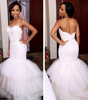 Appliques Crystal Tiered Sweetheart Mermaid Tulle Newest Wedding Dress_2