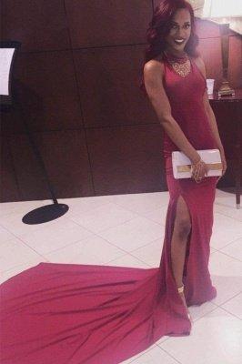 Simple Mermaid Long Side-Slit Burgundy Open-Back Prom Dresses_2