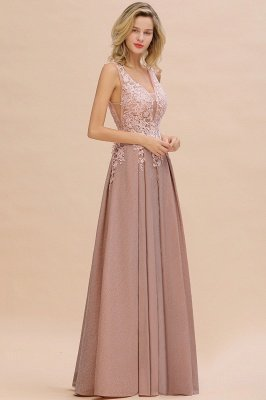 Elegant Sleeveless V-neck Floor Length Appliques Prom Dresses | Cheap Backless Evening Dresses_10