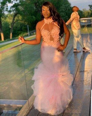 Pink Halter Sleeveless Flower Appliques  Mermaid Prom Dress_2