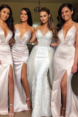 Sexy Slit Mermaid Bridesmaid Dresses | Spaghetti Straps Long Wedding Party Dresses_2