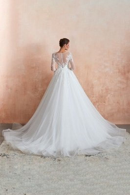 Floor Length Crew A-line Lace Tulle Wedding Dresses with Long Sleeves_12