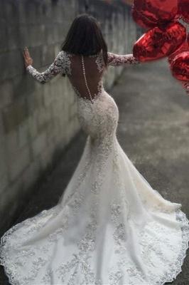 Mermaid Sheer-Back Long-Sleeves Charming Mermaid Tulle Appliques Bridal Dresses_3
