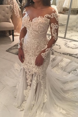 Sparkly Mermaid Long Sleeves Wedding Dresses | Off-the-shoulder V-neck Appliques Bridal Gowns_2