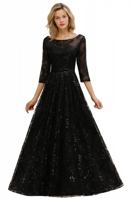 A-line Round Neckline Sexy Lace Prom Dresses | Black Evening Dresses_11