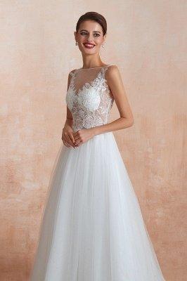Sheer Top Bateau Sleeveless Floor Length A-line Tulle Wedding Dresses_8