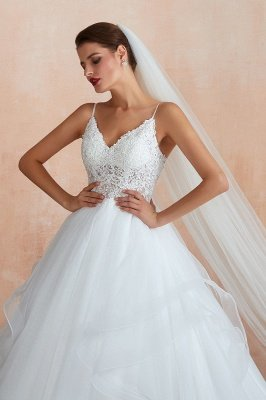 Spaghetti Straps V-neck Lace Organza Tiered A-line Sexy Wedding Dresses_7