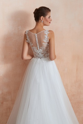 Sheer Top Bateau Sleeveless Floor Length A-line Tulle Wedding Dresses_11
