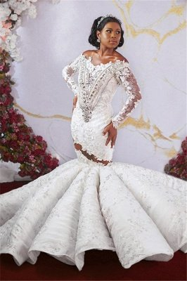 Glamorous Off-the-shoulder Ruffles Applique Beaded Mermaid Wedding Dresses with Long Sleeves_3