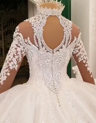 Luxury High Neck Long Sleeves Crystal Ball Gown Wedding Dress | Haute Couture Bridal Gowns_5