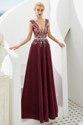 Straps Deep V-neck Beaded Sexy Long Prom Dresses | Elegant Floor Length Evening Dresses_11