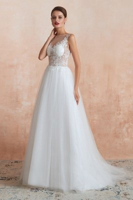 Sheer Top Bateau Sleeveless Floor Length A-line Tulle Wedding Dresses_4