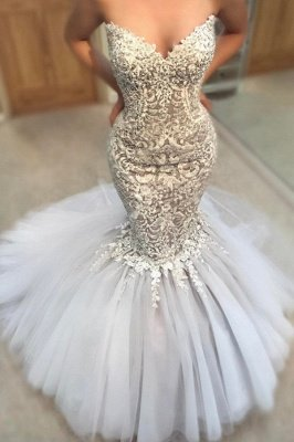 Exquisite Appliques Mermaid Wedding Dresses   Sweetheart Neck Tulle Skirt Bridal Gowns_2