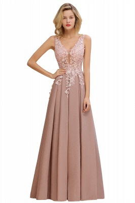 Elegant Sleeveless V-neck Floor Length Appliques Prom Dresses | Cheap Backless Evening Dresses_12