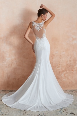 Sweep Train Crew Form-fitting Lace Wedding Dresses |Sleeveless Sheath Bridal Gown_10