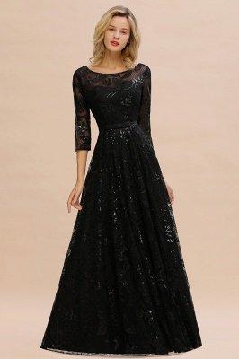 A-line Round Neckline Sexy Lace Prom Dresses | Black Evening Dresses_7