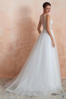 Sheer Top Bateau Sleeveless Floor Length A-line Tulle Wedding Dresses_5