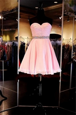 Cheap Short Sweetheart Simple Ruffles A-Line Crystal Homecoming Dress_3