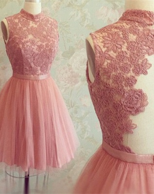 High-Neck Appliques Newest Mini Sleeveless Lace Homecoming Dress_2