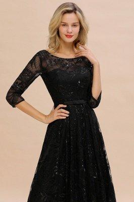 A-line Round Neckline Sexy Lace Prom Dresses | Black Evening Dresses_3