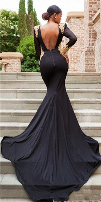 Long-Sleeves Deep-V-Neck Mermaid Black Crystal Sexy Prom Dresses_3