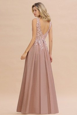 Elegant Sleeveless V-neck Floor Length Appliques Prom Dresses | Cheap Backless Evening Dresses_19