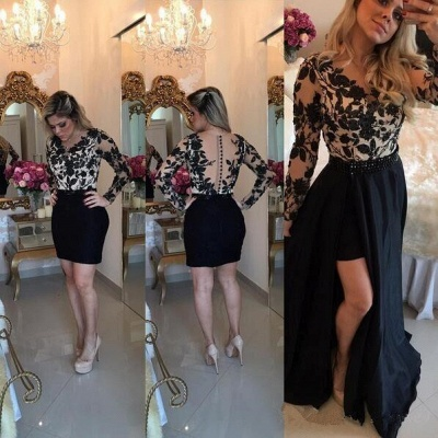 Appliques Detachable Skirt Sheath Black Short Homecoming Dresses with Long Sleeves_4