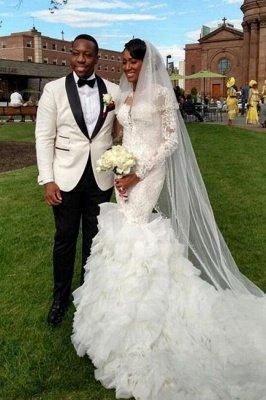 Long-Train Exquisite Lace-Appliques Ruffles Mermaid Wedding Dress_4