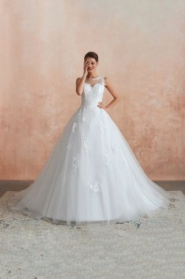Floor Length Bateau Sleeveless Buttons Lace Tulle Puffy Wedding Dresses_3