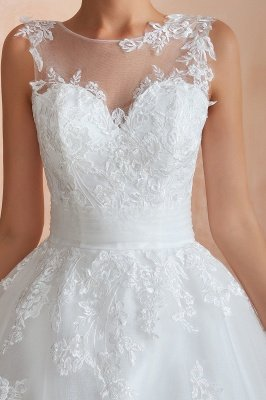 Floor Length Bateau Sleeveless Buttons Lace Tulle Puffy Wedding Dresses_12