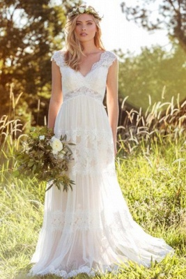 A-Line Tulle Lace V-Neck Cap-Sleeve Appliqued Wedding Dress_2