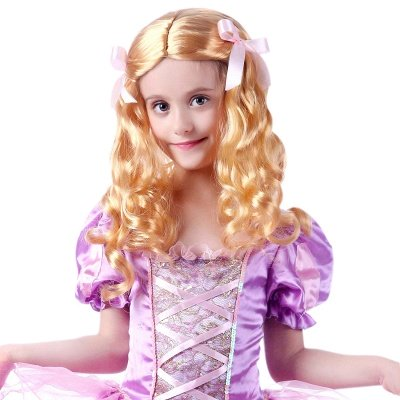 Gold Long Wavy Curly Cosplay Wigs with Bowknot for Girl