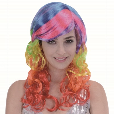 Rainbow Long Wavy Curly Wig for Women_1