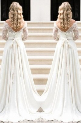 Fall Sash Bateau-Neck Glamorous Bow A-line Long Sleevess Lace Wedding Dresses_2