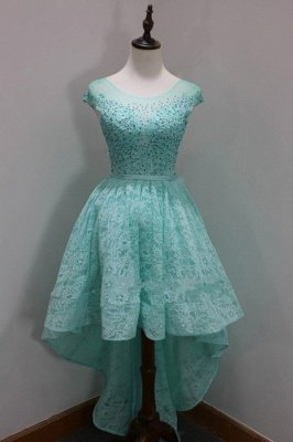 A-Line High-Low Scoop Newest Sequins Homecoming Lace Sleeves Cap Dresses Prom Dresses_3