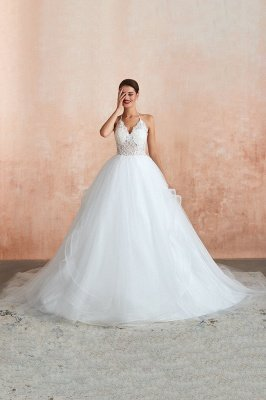 Halter Backless Ball Gown Wedding Dresses   Affordable Tulle Bridal Gowns_4