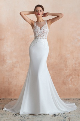 Sweep Train Crew Form-fitting Lace Wedding Dresses |Sleeveless Sheath Bridal Gown_6