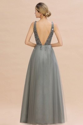 Sleeveless A-line Sequin Tulle Prom Dresses | Cheap Evening Dress_14