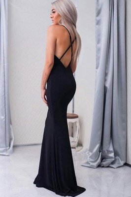 Simple Black Prom Dresses Crisscross Back Sexy Mermaid Evening Gowns BA4507_3