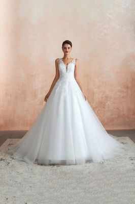 Floor Length V-neck Straps Cheap A-line Lace Tulle Wedding Dresses